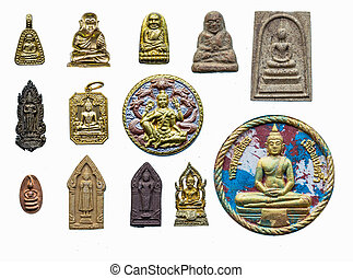 Many amulets of Thailand.For the prosperity and good fortune.