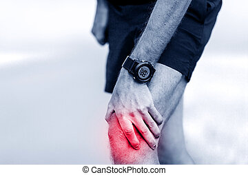 Running injury, knee pain - Knee pain, runner leg and muscle...