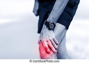 Funcionamiento, lesión, rodilla, dolor,
