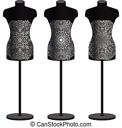 Mannequins for clothes on a white background. Vector set. -...