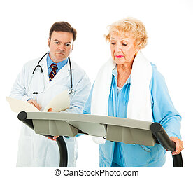 Exercising on Medical Advice - Senior lady walks on...