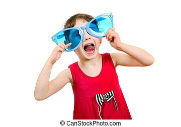 poco, niña, en, grande, azul, anteojos,