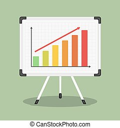 Whiteboard with Graph - Whiteboard with growing bar graph,...