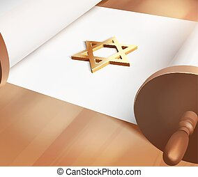 bar mitzwah - Vector David Star On Blank Torah,...