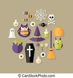 Halloween Witch Flat Icons Set - Illustration of Halloween...