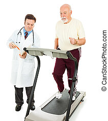 Senior Man - Fitness Test - Senior man runs on a treadmill...