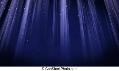 Loopable background flying - Blue particles in light beams....