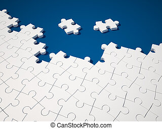 Building the Puzzle - White Jigsaw pieces on Blue Background...