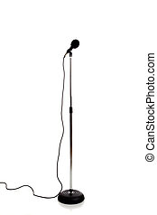 Microphone on a stand - A microphone with windscreen on a...