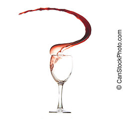Red wine and wineglass - Red wine and wine glass splash...