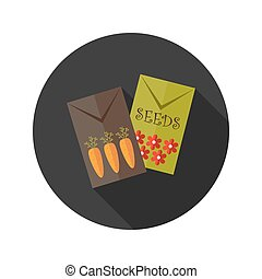 Carrot and Flower Seeds flat icon - Illustration of Carrot...