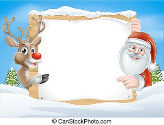 Christmas Reindeer and Santa Sign with cute cartoon Reindeer...