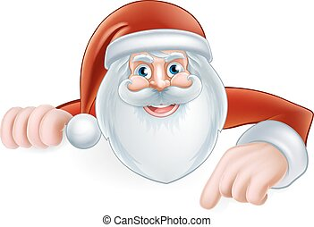 Cartoon Santa Pointing - An illustration of a cute Cartoon...