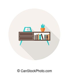 Chest of Drawers flat icon - Illustration of Chest of...