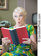 Startled Woman Reading a Book