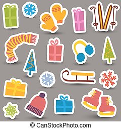 Christmas and winter icons - Christmas winter clothes,...