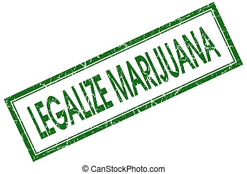 legalize marijuana green square stamp isolated on white...