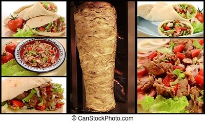 doner kebab collage - fast food , doner kebab collage