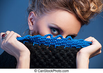 Beautiful adult woman wearing knitted wear. young girl...