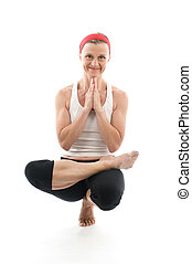yoga sitting tree pose illustration fitness trainer teacher