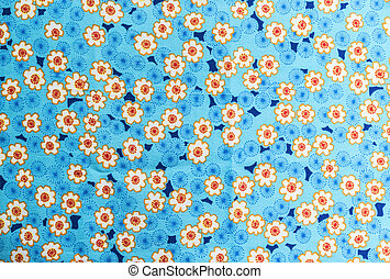 Flowers pattern on fabric background - Closeup beautiful...