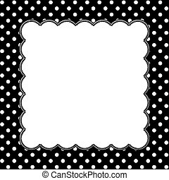 Black and White Polka Dot Background with Embroidery with...