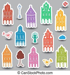 Houses doodles on colored background