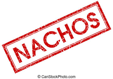 nachos red square stamp isolated on white background clipart
