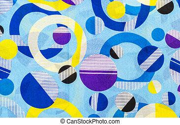 Graphic pattern on fabric background - Closeup beautiful...