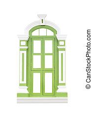 Green classic wooden window frame on white