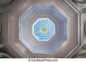 Octagon skylight - Closeup modern octagon skylight and clear...