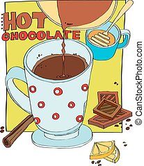 cup of hot chocolate - a cup of hot chocolate is poured....