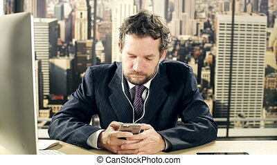 Man writing text message in office - Business man writing...