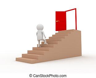 3d man climbing on stair