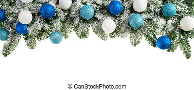 Fir branches decorated with cool colors - Studio isolated...
