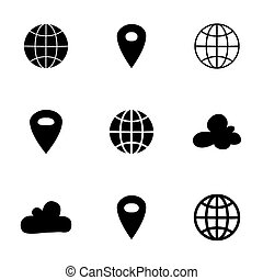 Black map pin icons over white - Illustration of Black map...
