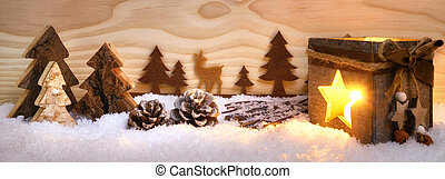 Christmas arrangement with wooden ornaments and lantern