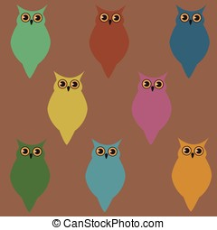 Wallpaper with colorful owls