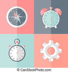 Business speed falt icons