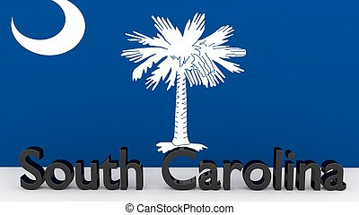 US state South Carolina, metal name in front of flag -...