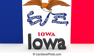 US state Iowa, metal name in front of flag - Writing with...