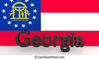US state Georgia, metal name in front of flag