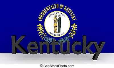 US state Kentucky, metal name in front of flag