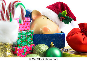 Piggy bank Santa with ornaments isolated on white