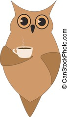 Brown owl with a cup of coffee