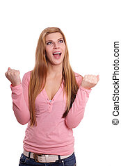 jubilant young woman rejoicing and looking up