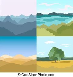 Set of vector images Landscapes