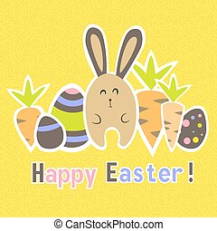 Easter colorful yellow card template - Illustration of...