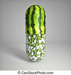 vitamin pills - 3d image of huge vitamin watemelon pills