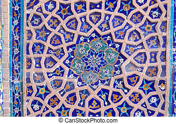 Samarkand - Details of the decoration at the Ulugh Beg...